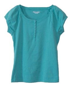 Royal Robbins Cap Sleeve Henley Buttons T Shirt Blue Green
