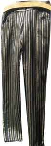 Kate Moss for TopShop Pinstripe Skinny Pants Black with Gold and Brown Stripes