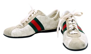 Gucci Leather Monogram Sneaker Canvas Suede White/Green/Red Athletic