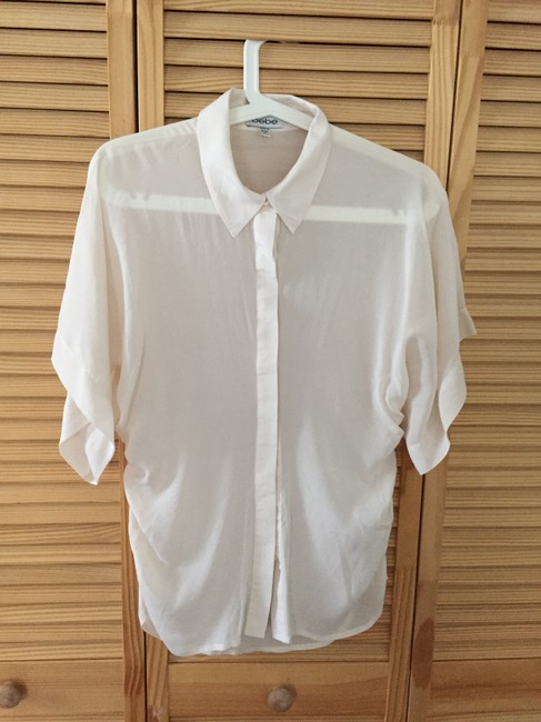 bebe Button Down Shirt Ivory Image 1