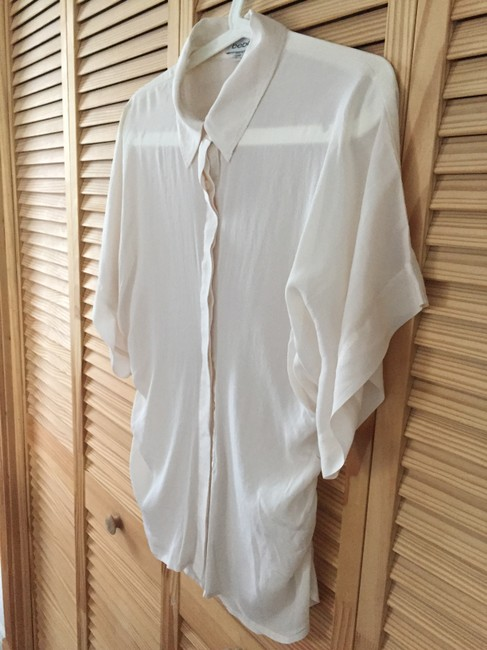 bebe Button Down Shirt Ivory Image 4