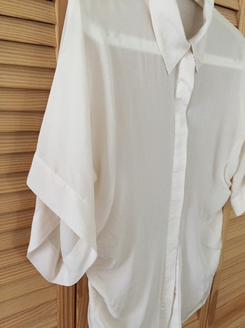 bebe Button Down Shirt Ivory Image 5