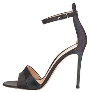 Gianvito Rossi Dorsay Ankle Strap Covered Heel Purple and Black Sandals
