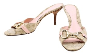 Gucci Monogram Pink Leather Open Toe Brown/Pink Sandals