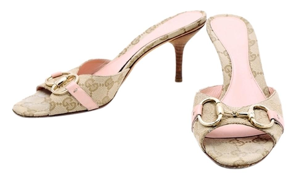 7f1b3f72caf6 Gucci Monogram Canvas Pink Leather Open Toe Multicolor Sandals Image 0 ...
