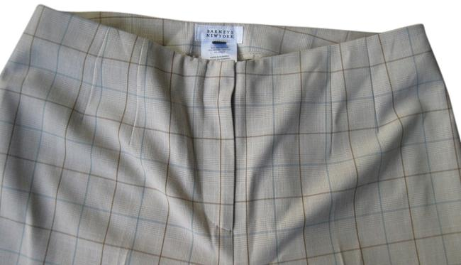 Barneys New York Trouser Pants Beige with Brown and Blue Plaid