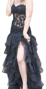 Cassandra Stone Lace See-through Prom Homecoming Ruffle Ruffles High Slit Dress