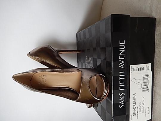 Saks Fifth Avenue Womens Leather Face black Pumps Image 10