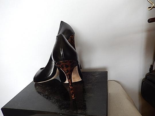 Saks Fifth Avenue Womens Leather Face black Pumps Image 3