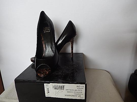 Saks Fifth Avenue Womens Leather Face black Pumps Image 4