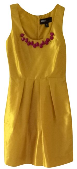 Miss Sixty Yellow M60 Marigold Mid-length Cocktail Dress Size 2 (XS) Image 0