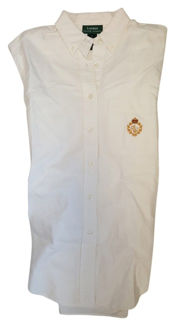 Preload https://img-static.tradesy.com/item/11624464/ralph-lauren-white-cotton-shirt-with-crest-button-down-top-size-6-s-0-2-650-650.jpg