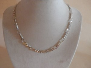 NEW UNISEX Sterling Silver Figaro Chain 16' 20 GRAMS