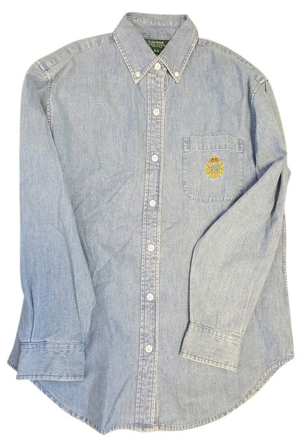 Preload https://img-static.tradesy.com/item/11625082/ralph-lauren-blue-jean-shirt-with-crest-button-down-top-size-4-s-0-1-650-650.jpg