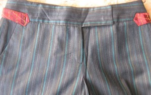 Kuhlman Pinstripe Trouser Pants Dark Navy with Multi Stripes
