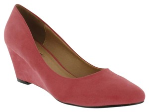 Red Circle Footwear Pink Suede Wedges