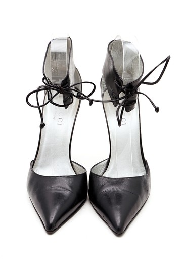 Gucci Leather Ankle Strap Pointy Toe Pumps Black Sandals Image 1
