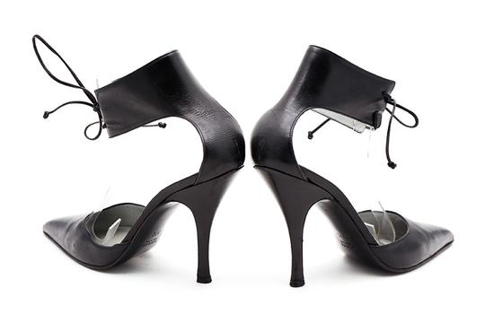 Gucci Leather Ankle Strap Pointy Toe Pumps Black Sandals Image 4