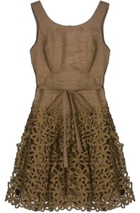 Robert Rodriguez Floral Deep Back Cut-out Embroidered Feminine Dress
