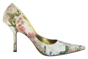Baker Floral Brocade Pointed Toe Heel Ivory Multicolor Pumps