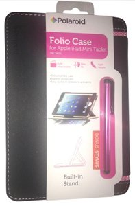 Polaroid iPad Mini Folio Case Faux Black Leather & Pink Accents Built In Stand NEW