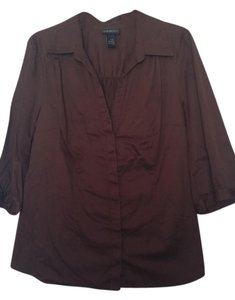 Lane Bryant Button Down Shirt Dark Brown