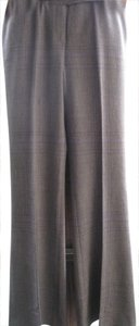 Tahari Flare Pants Grey/Black with Purple Plaid