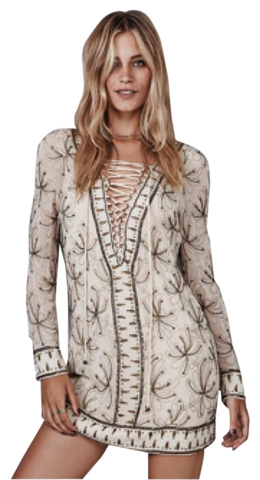 3d18a80923 Free People Ivory Combo Sicily Beaded Lace Up Above Knee Cocktail ...