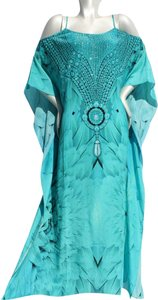 Angel Maxi Dress by Victoria Luxury Silk Kaftan Blue Kaftan