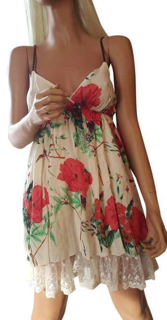 Preload https://img-static.tradesy.com/item/11627455/offwhitered-flowers-floral-cotton-short-casual-dress-size-8-m-0-2-650-650.jpg