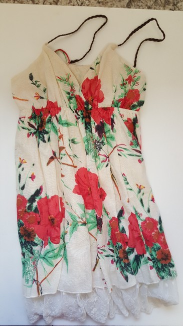 Other short dress OffWhite/Red Flowers on Tradesy Image 2