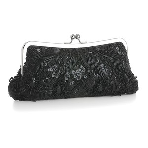 Mariell Jet Black Evening Bag With Beads Sequins & Gems 3811eb-je