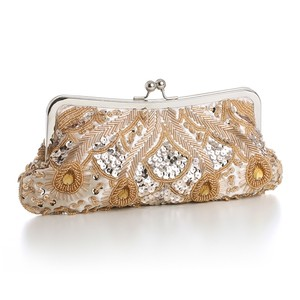 Mariell Gold Beaded Clutch
