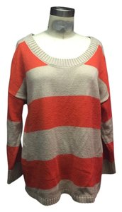 H&M Slouch Striped Orange Back Buttoned Retro Chic Oversized Tunic Sweater
