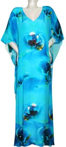 Orchidee Maxi Dress by Victoria Luxury Silk Kaftan Blue Blue Kaftan