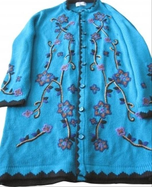 Preload https://item1.tradesy.com/images/aqua-blue-w-embroidery-sweater-coat-new-never-worn-size-20-plus-1x-116295-0-0.jpg?width=400&height=650