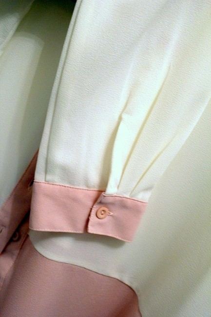 Cecico Colorblock Studded Collar Button Down Shirt Cream/Pink