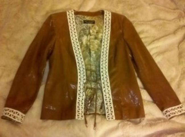 St. John Brown with earth tone flower lining Leather Jacket