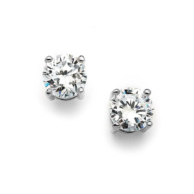 Item - Silver 10mm Round Cubic Zirconia Stud 4370e-s Earrings