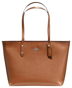 Coach Leather City Ziptop Crossgrain Tote in Saddle Brown