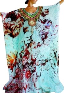 Floral Maxi Dress by Victoria Luxury Silk Kaftan Crystal