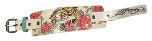 Ed Hardy Ed Hardy White Leather Tiger Cuff Bracelet