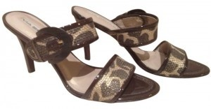 Via Spiga Brown Giraffe Linen Sandals