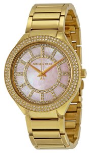 Michael Kors Pink Mother of Pearl and Crystal Dial Gold Ladies Watch