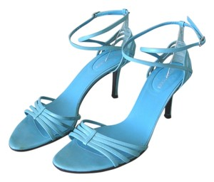 Sergio Rossi Blue Stiletto Blue Anklestrap Ankle Strap Strappy turquoise Sandals