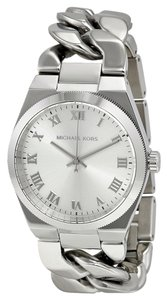 Michael Kors Silver tone Flat Chain Link Strap Designer Watch