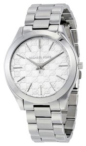 Michael Kors MK Logo Print Dial Silver tone Stainless Steel Ladies Designer Watch