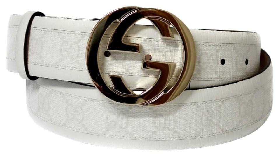 a877f4bc0c6 Gucci GUCCI 142930 GG White Leather Belt with Interlocking G Buckle 105 - 42  Image 0 ...