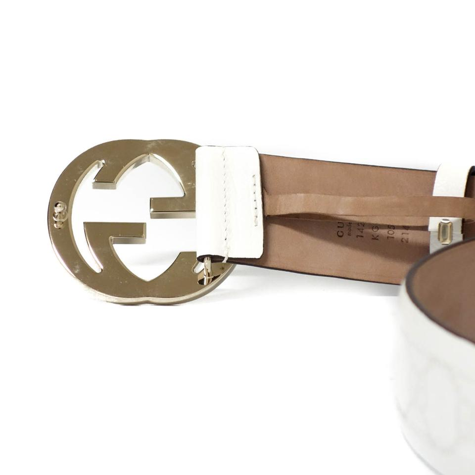 3e38cfd253c Gucci GUCCI 142930 GG White Leather Belt with Interlocking G Buckle 105 - 42  Image 3. 1234