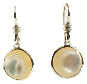 Ippolita IPPOLITA STERLING SILVER MOTHER OF PEARL & DIAMOND SCULTURA MINI ROUND DROP EARRINGS